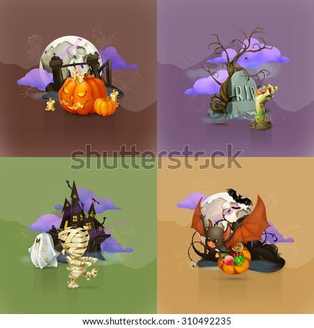 Halloween concepts, set of vector backgrounds - stock vector