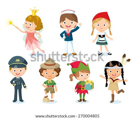 halloween costumes for kids - stock vector