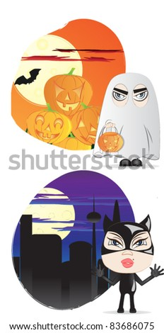 Halloween costumes ghost and cat girl - stock vector