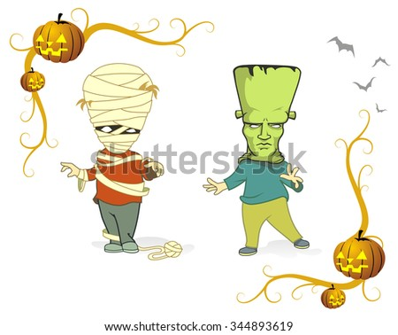 Halloween Costumes-Vector illustration of Kids putting up there best costumes for trick or treat Halloween - stock vector