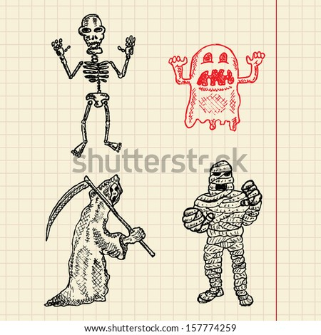 Halloween creatures sketch set for your design, vector illustration, eps10, 2 layers