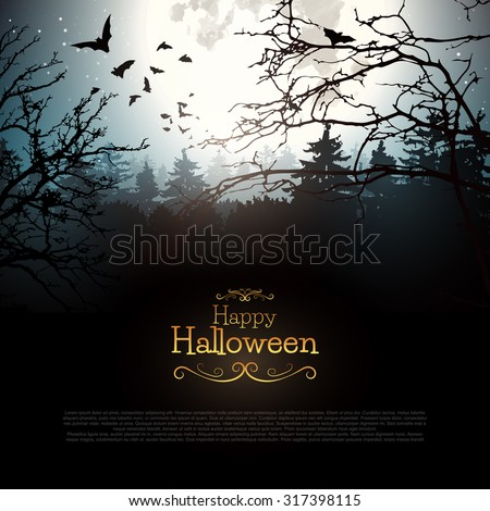 Halloween creepy forest with bats and full Moon - stock vector