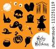 Halloween creepy icons - stock photo