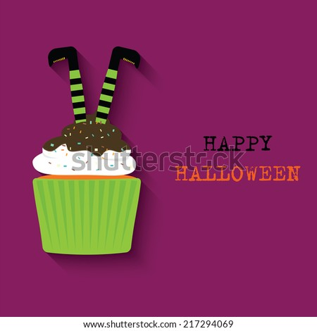 Halloween cupcake. Vector Design for Happy Halloween - stock vector