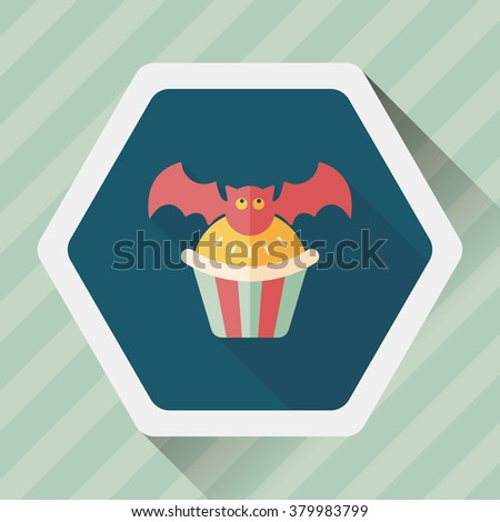 Halloween cupcakes with bat flat icon with long shadow,eps10 - stock vector