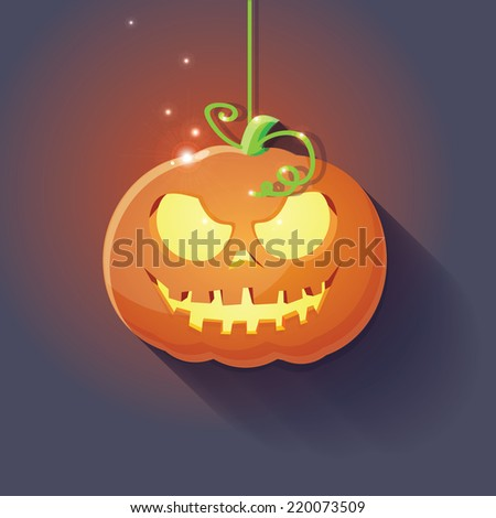 Halloween curved pumpkin with evil face on dark background vector illustration - stock vector