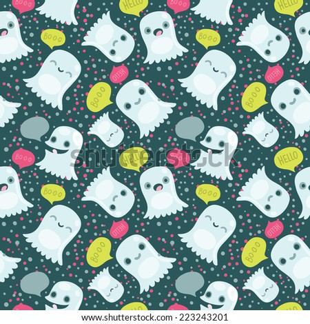 Halloween cute ghosts seamless pattern  - stock vector