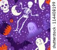 Halloween cute seamless pattern. Vector illustration. - stock vector