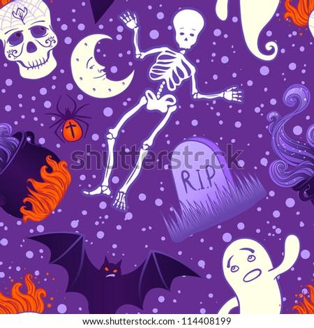 Halloween cute seamless pattern. Vector illustration. - stock vector