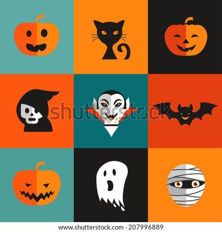 Halloween cute set of icons - pumpkin, black cat, ghost, Dracula, skull, zombi - stock vector
