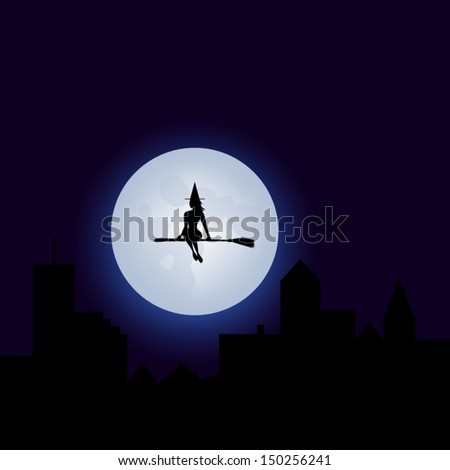 Halloween Cute Witch Flying On A Broomstick - Fool Moon - Silhouette - Vector EPS10 - stock vector