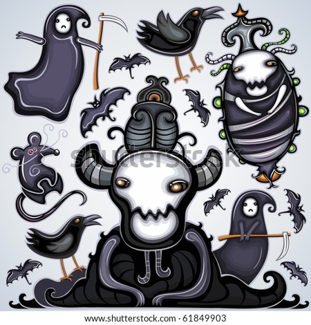 Halloween dark set of design elements - stock vector