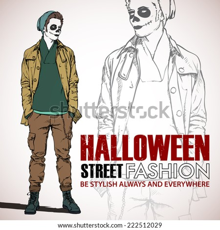 Halloween/Day of The Dead. Vector illustration with dude. - stock vector