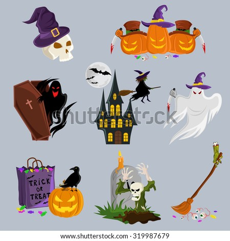Halloween decoration attributes vector image design set for illustration, postcards, posters, stickers, labels and other  creative needs. - stock vector