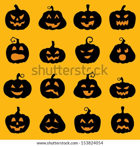 Halloween decoration jackolantern silhouette set pumpkins for Different pumpkin designs
