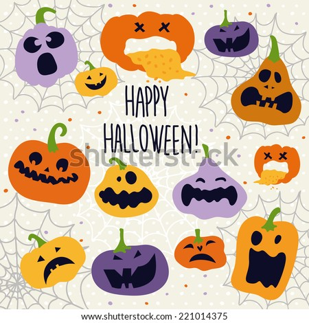 Halloween decoration Jack-o-Lantern silhouette set. Pumpkins designs with different facial expressions - stock vector