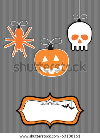halloween decorations with blank frame ready for text - stock vector