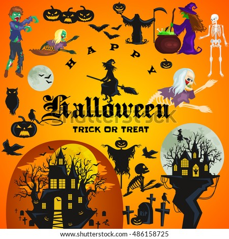 Halloween design elements with witches on broomstick and cooks potion in cauldron, Castle in the forest with a full moon, a cemetery with live skeletons, bats owl pumpkins zombies label
