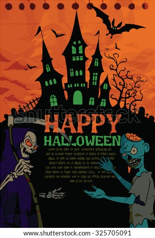 Halloween design template. Spooky landscape with castle, Zombie & Grim reaper. Vector illustration - stock vector