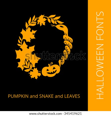 Halloween design vector font letter  O consist of pumpkin, snake and leaves. Spooky and Magical Alphabet - stock vector