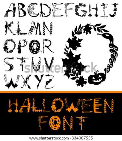 Halloween design vector font. Spooky and Magical Alphabet Set - stock vector