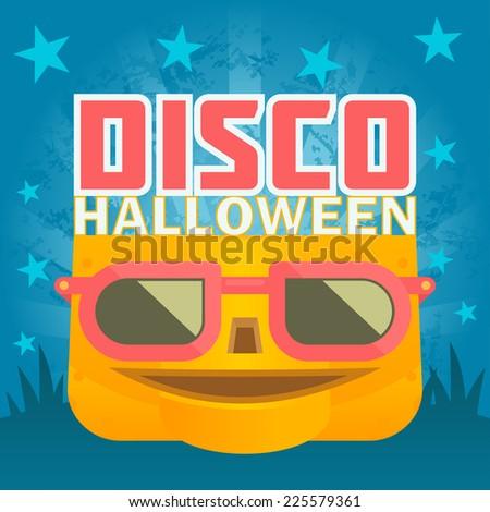 Halloween disco pumpkin - stock vector