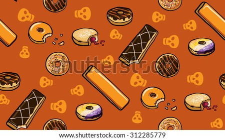Halloween Donuts Seamless Vector Pattern