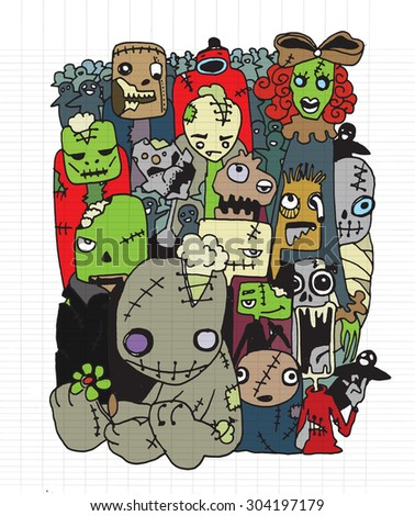 Halloween doodle, Modern sketchy style image of  Cute Zombies and Monsters set, cool, cute hand-drawn collection Vector illustration.
