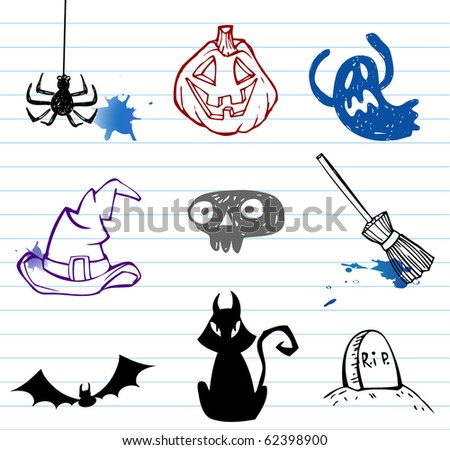Halloween doodle set, vector illustration. - stock vector