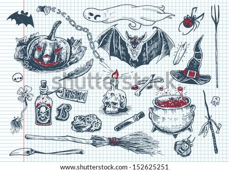 halloween doodles - stock vector