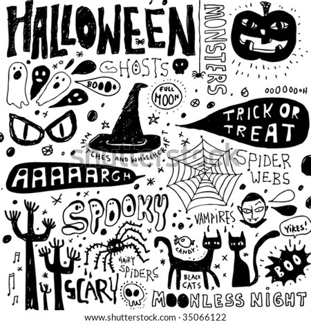 Halloween doodles elements - stock vector