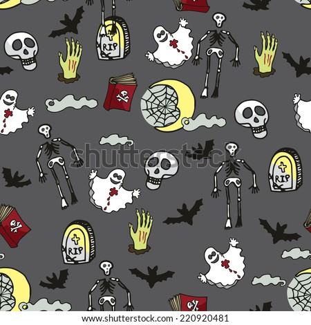 Halloween doodles seamless pattern or background about death, cemetery.Hand drawing spooky elements in style of children's drawing.For fabric,background,backdrop,Wallpaper,wrapping paper.Vector - stock vector