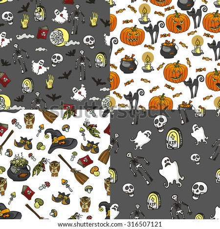Halloween doodles seamless pattern or background.Hand drawing spooky elements in style of children drawing.For fabric,background,backdrop,Wallpaper,wrapping paper.Retro Vector - stock vector