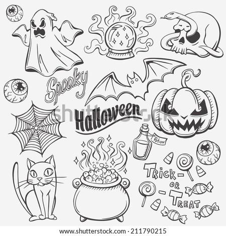 Halloween doodles set - stock vector