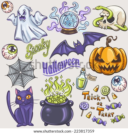 Halloween doodles set - stock vector