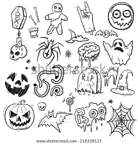 Halloween doodles set. Simple isolated objects on white background. Sketch style vector illustration. - stock vector