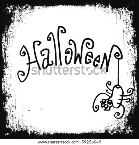 Halloween doodles with spider in grunge frame. - stock vector