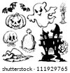 Halloween drawings collection 1 - vector illustration. - stock photo