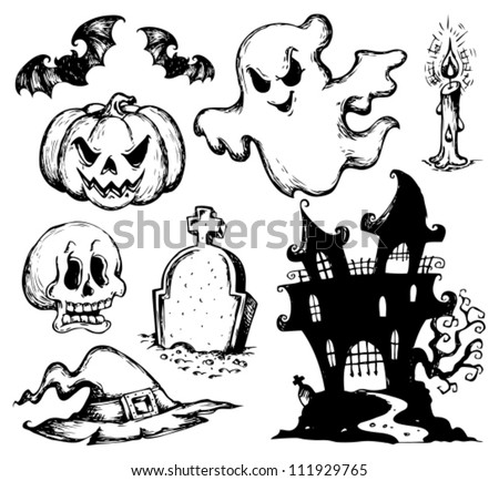 Halloween drawings collection 1 - vector illustration. - stock vector