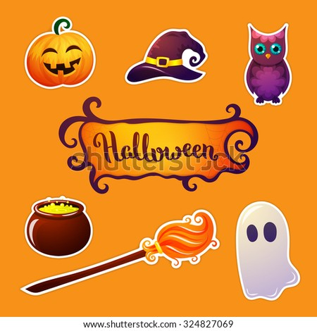 Halloween elements collection. Vector illustration.