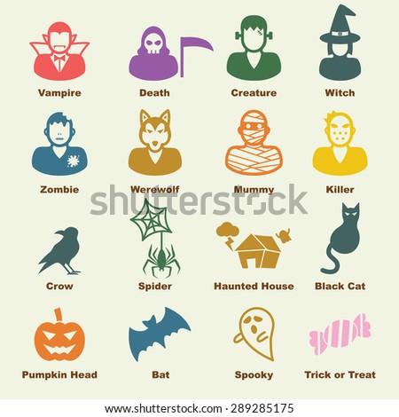 halloween elements, vector infographic icons - stock vector