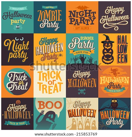 Halloween emblems set. Vector illustration. - stock vector