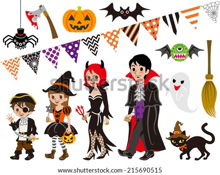 Halloween Family and Monsters set - stock vector