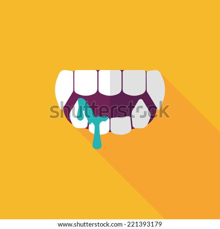 Halloween fangs flat icon with long shadow,eps10 - stock vector