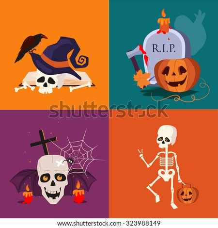 Halloween flat icon set of a skull, sceleton, pumpkins and candles vector illustrations in flat style - stock vector