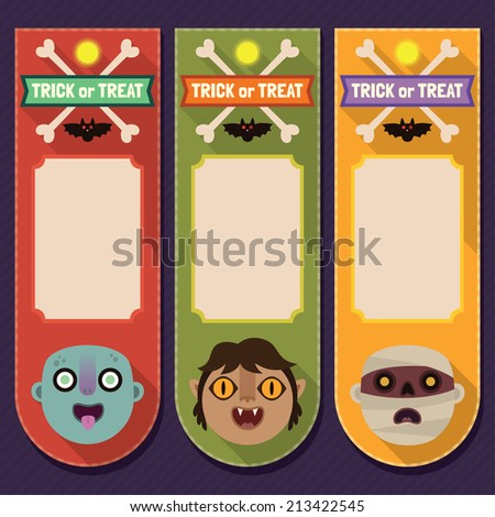 Halloween flat long shadow price tags with zombie, werewolf and mummy. Vector trendy set 1. - stock vector