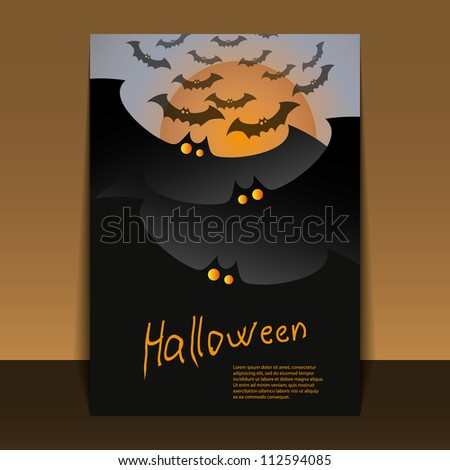 Halloween Flyer or Cover Design - Dark Bats with Glowing Eyes Flying - stock vector