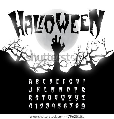 Halloween Font Letters Numbers Stock Vector 479625151 - Shutterstock