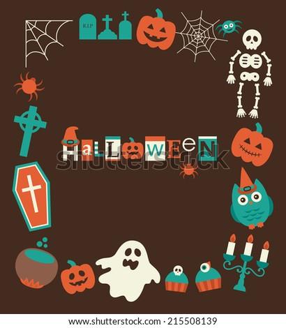 halloween frame design. vector illustration - stock vector