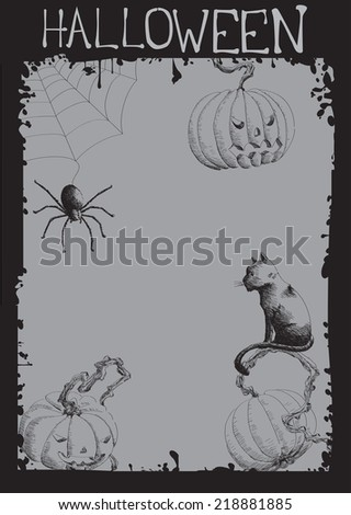 Halloween Frame - in a hand-drawn style - stock vector